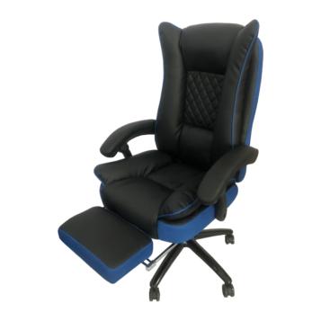 Scaun directorial Arka B67 cu suport picioare, piele ecologica si mesh blue