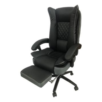Scaun directorial Arka B67 cu suport picioare, piele ecologica si mesh gri