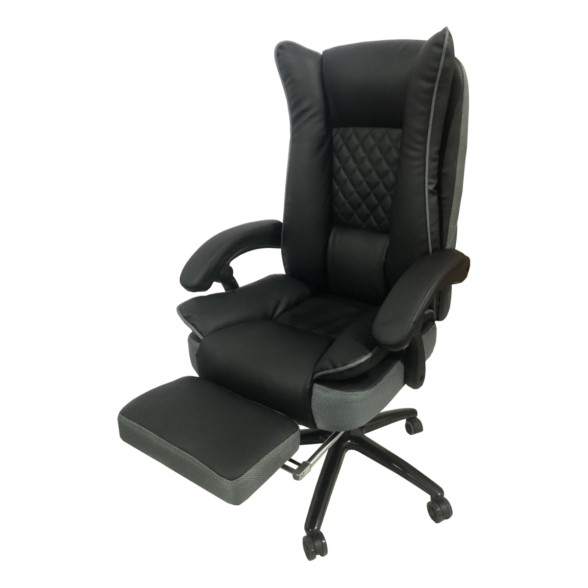 Zendeco.ro-Scaun directorial Arka B67 cu suport picioare, piele ecologica si mesh gri
