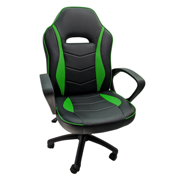 Scaun gaming B14 verde, piele ecologica, Zendeco.ro