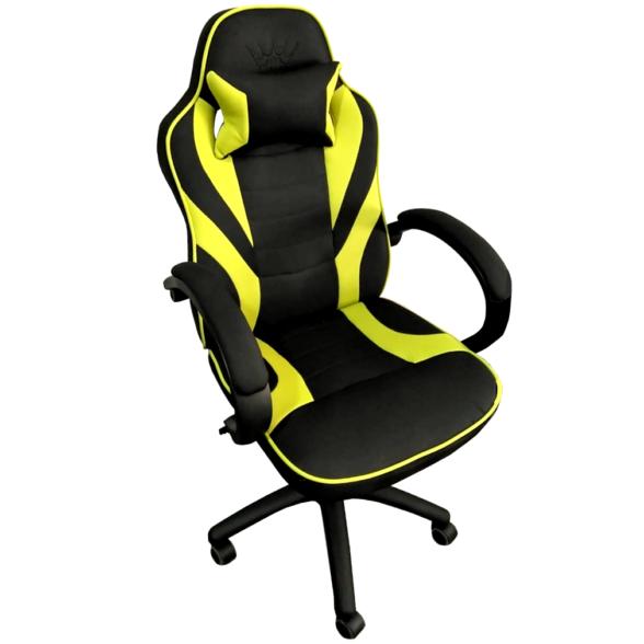 Scaun gaming Arka B99 negru galben textil, cadou perna-Zendeco.ro
