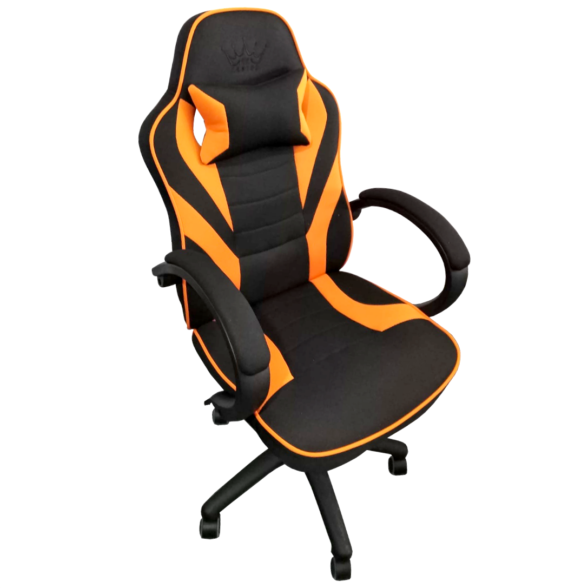 Scaun gaming Arka B99 negru portocale textil, cadou perna-Zendeco.ro