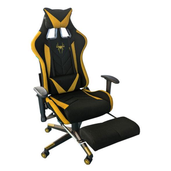 Scaun-gaming-B207-Spider-textil-negru-portocaliu-cu-suport-picioare-Zendeco.ro.