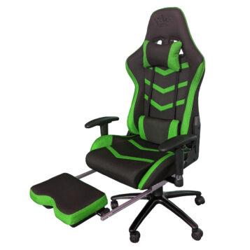 Scaun gaming Arka Line B61 textil negru verde cu suport picioare
