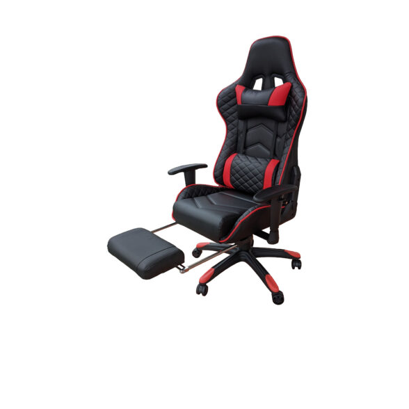 Scaun Gaming Arka Chairs B22 negru/rosu cu suport picioare