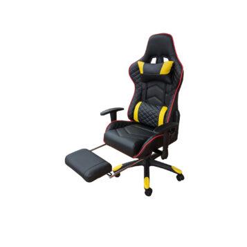 Scaun Gaming Arka Chairs B22 negru/galben cu suport picioare