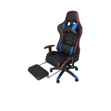 Scaun Gaming Arka Chairs B22 negru/albastru cu suport picioare