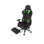 Scaun Gaming Arka Chairs B22 negru/verde cu suport picioare