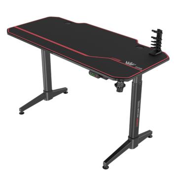 Birou gaming Arka Electric Z14, reglaj electric pe inaltime 140x66cm Profesional black pentru 2 monitoare, suprafata black carbon , Mouse Pad