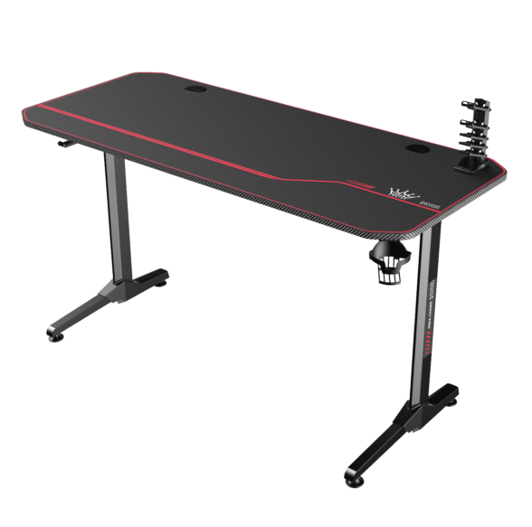 Birou gaming Arka Evolution Z8, Profesional black red, pentru 2 monitoare, suprafata black carbon 140 x 60cm, Mouse Pad