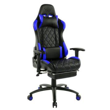 Scaun gaming Arka B56, albastru, cu suport picioare Zendeco.ro