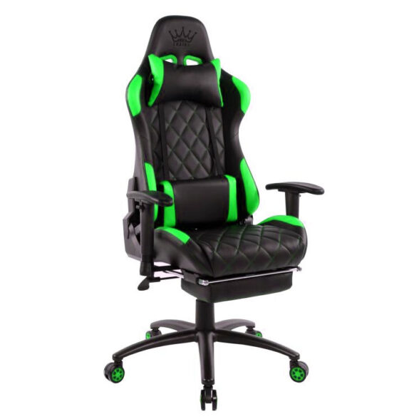 Scaun gaming Arka B56 verde cu suport picioare Zendeco