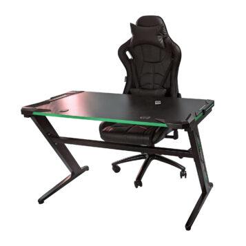 Birou Arka Gaming Z6, lumini led, suprafata negru verde carbon 120*60cm