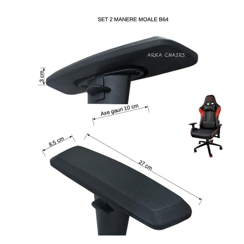 Set 2 manere moale B64, suport pentru brate de scaun de gaming