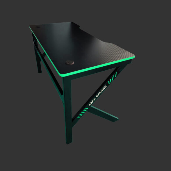 Birou gaming Arka Z3, Profesional, suprafata carbon negru verde 120*60cm